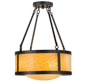 Meyda Lighting Arts & Crafts Beige 18'' Wide Semi-Flushmount