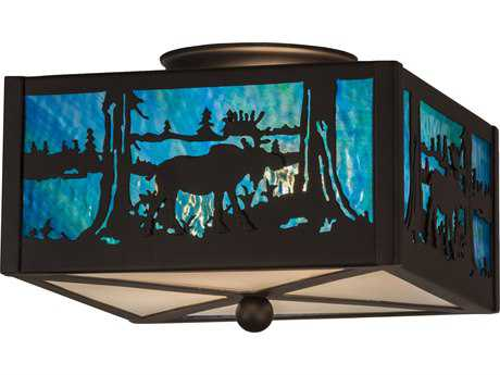 Meyda Lighting Moose at Lake Clear Frosted Flush Mount Light