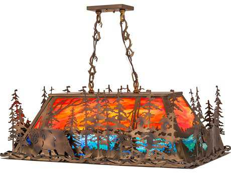 Meyda Lighting Bear at Dusk Burnished Orange Blue 36'' Pendant Light