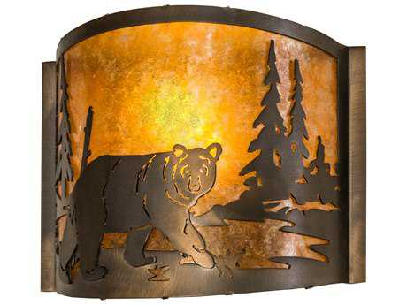 Meyda Lighting Northwoods Lone Bear Antique Copper 11'' Wide Wall Sconce