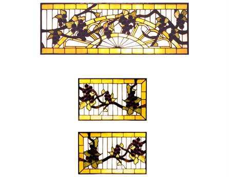 Meyda Tiffany Jeweled Grape 3 Piece Stained Glass Window