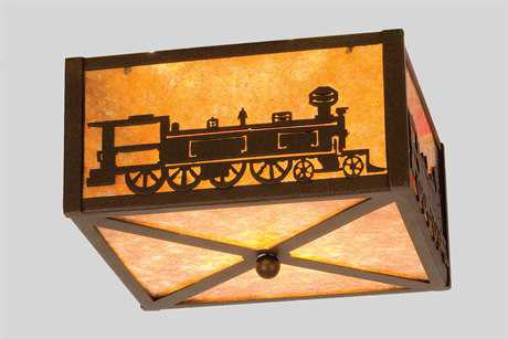 Meyda Tiffany Train Two-Light Flush Mount Light