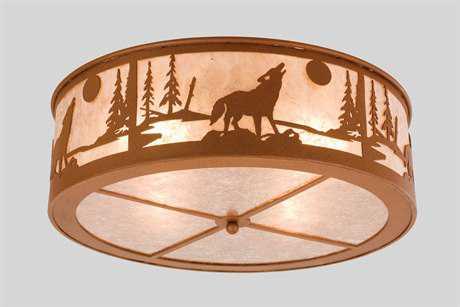 Meyda Tiffany Northwood's Wolf On The Loose Four-Light Flush Mount Light