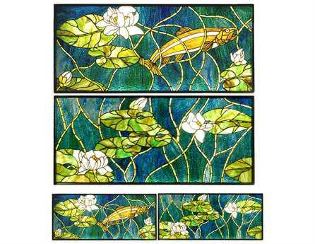 Meyda Tiffany Trout & Water Lilies 3 Piece Stained Glass Window