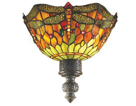 Meyda Tiffany Hanginghead Dragonfly Two-Light Wall Sconce