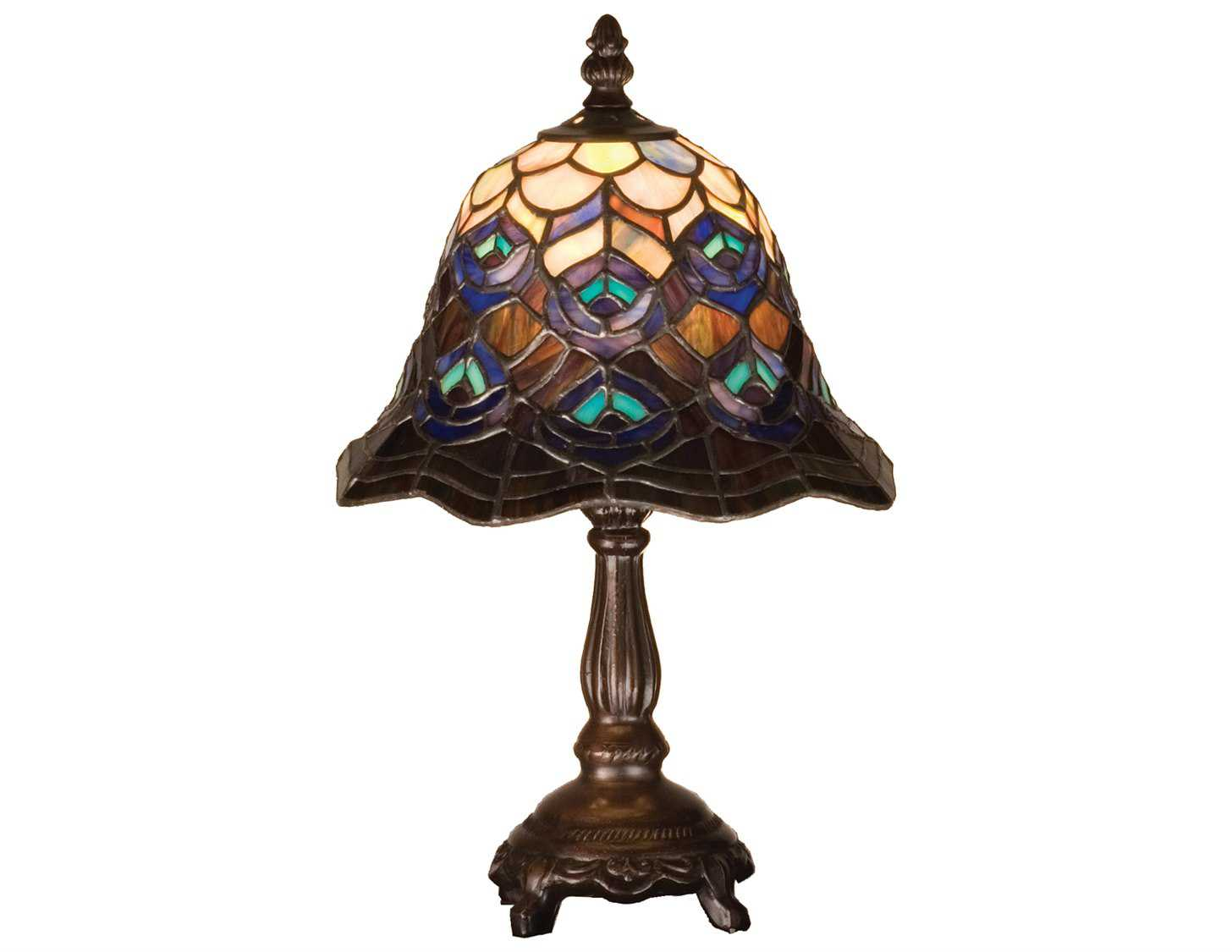 Meyda Tiffany Peacock Feather Multi Color Mini Lamp 30317