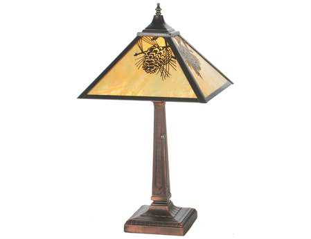 Meyda Tiffany Winter Pine Mission Multi-Color Table Lamp