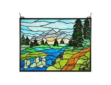 Meyda Tiffany Mountain Stream Stained Glass Window