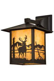 Meyda Lighting Seneca Deer at Lake Beige Craftsman Wall Sconce
