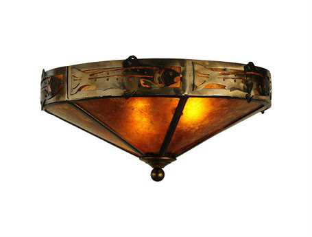 Meyda Tiffany Rainbow Trout Two-Light Flush Mount Light
