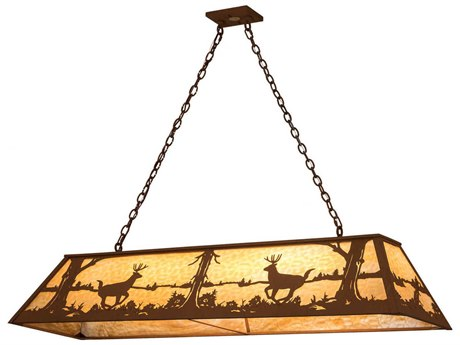 Meyda Tiffany Deer At Lake Oblong Nine-Light Pendant