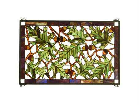 Meyda Tiffany Acorn & Oak Leaf Stained Glass Window