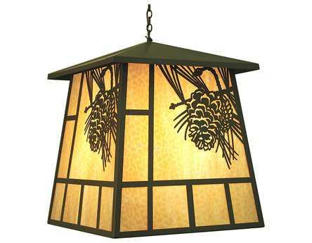 Meyda Tiffany Stillwater Winter Pine Four-Light Outdoor Hanging Light