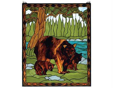 Meyda Tiffany Brown Bear Stained Glass Window