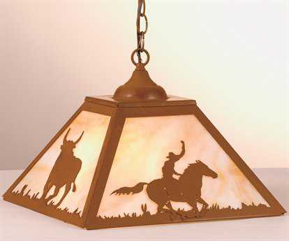 Meyda Tiffany Cowboy & Steer Two-Light Pendant