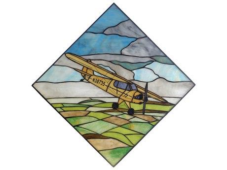 Meyda Tiffany Airplane Piper Cub Stained Glass Window