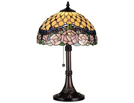 Meyda Tiffany Jeweled Rose Multi-Color Table Lamp