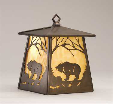 Meyda Tiffany Grizzly Bear At Dawn Hanging Outdoor Wall Light