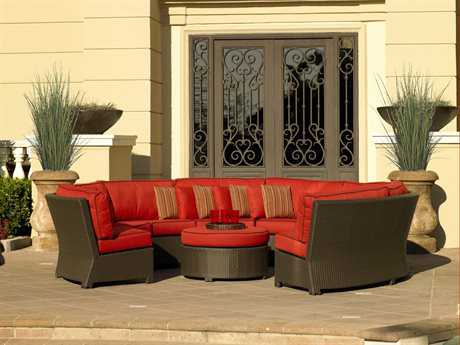 Forever Patio Barbados Wicker 5 Person Cushion Sectional Patio Lounge Set
