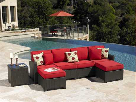 Forever Patio Barbados Wicker 4 Person Cushion Sectional Patio Lounge Set