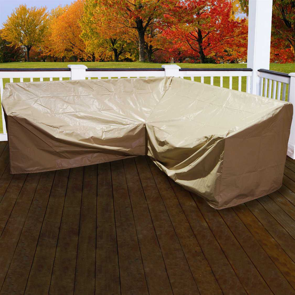 Forever patio 5 piece hampton l shape sectional cover fp for Sectional sofa patio cover