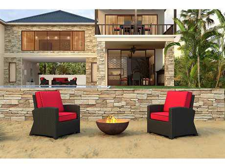 Forever Patio Barbados Wicker 2 Person Cushion Conversation Patio Lounge Set