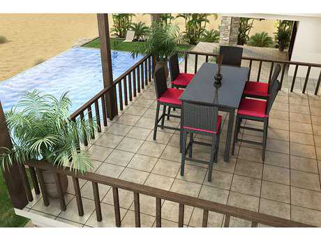 Forever Patio Barbados Wicker 6 Person Cushion Bar Patio Dining Set