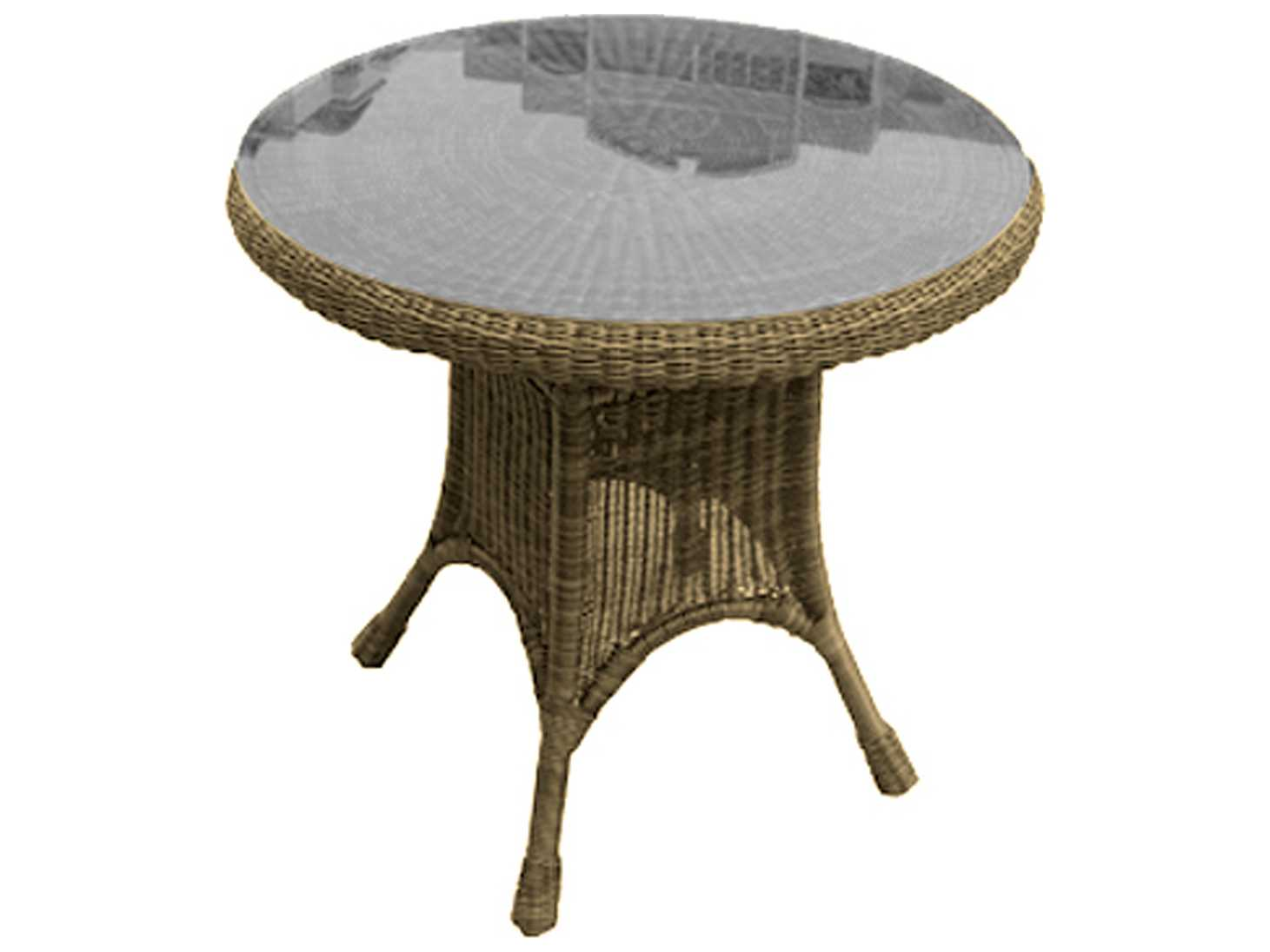 Forever Patio Catalina Wicker 30 Round K D Dining Table With Glass Top In Str