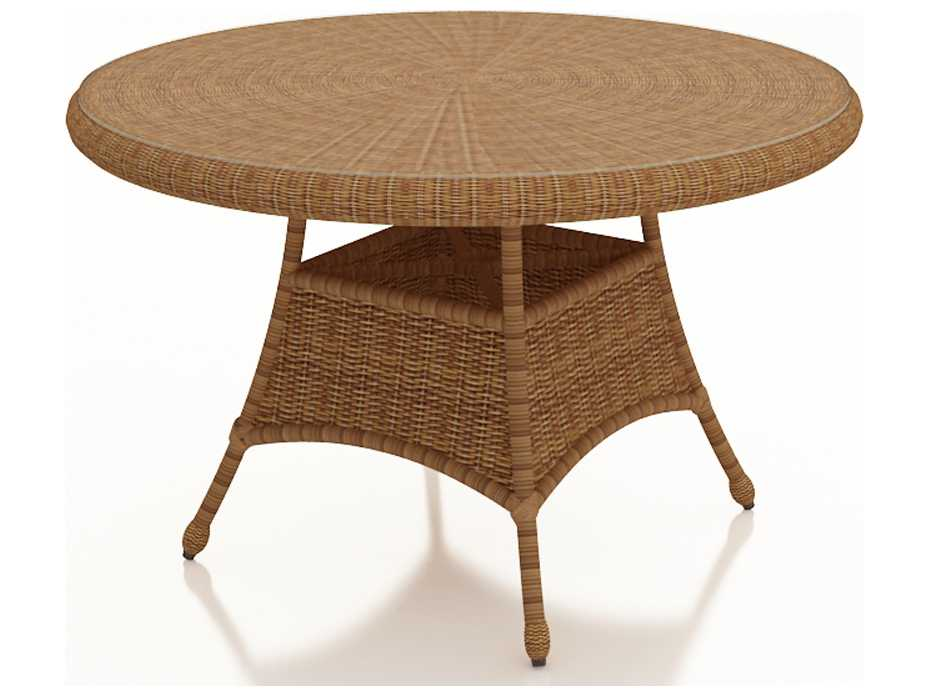 Round Glass Dining Table 48 Inches: Forever Patio Catalina Wicker 48 Round K/D Dining Table