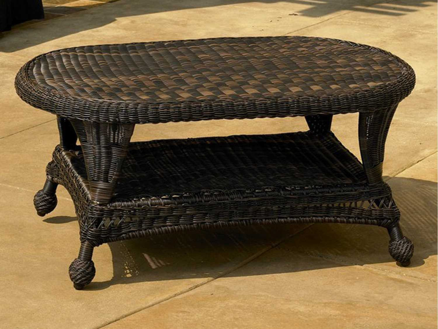 Forever Patio Catalina Wicker 41 X 25 Oval Coffee Table Fp Cat Ct Glass