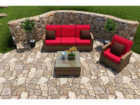 Forever Patio Cypress Wicker 4 Person Cushion Conversation Patio Lounge Set