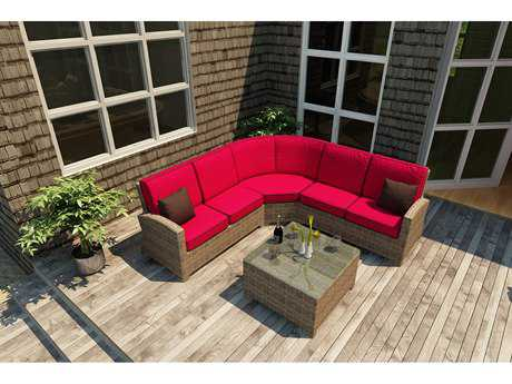 Forever Patio Cypress Wicker 5 Person Cushion Conversation Patio Lounge Set