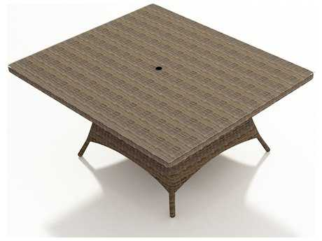 Forever Patio Cypress Wicker 60 Square Bar Table with Umbrella Hole
