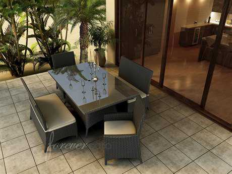 Forever Patio Hampton Wicker 6 Person Cushion Casual Patio Dining Set