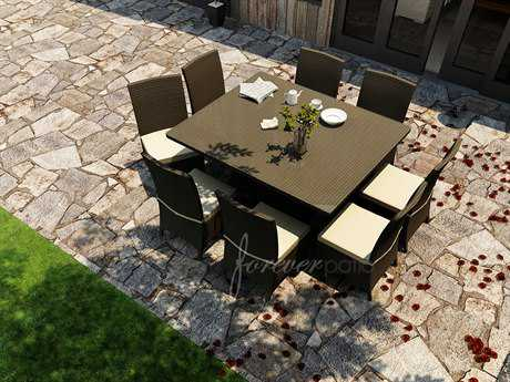Forever Patio Hampton Wicker 8 or more Cushion Casual Patio Dining Set