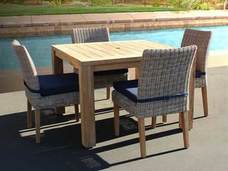 Forever Patio Lassiter Wicker 4 Person Cushion Casual Patio Dining Set