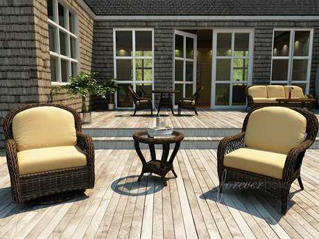 Forever Patio Leona Wicker 2 Person Cushion Conversation Patio Lounge Set