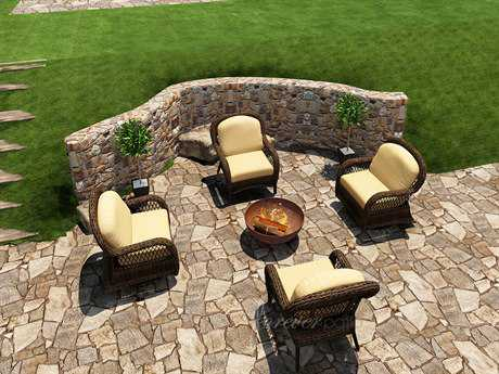 Forever Patio Leona Wicker 4 Person Cushion Conversation Patio Lounge Set