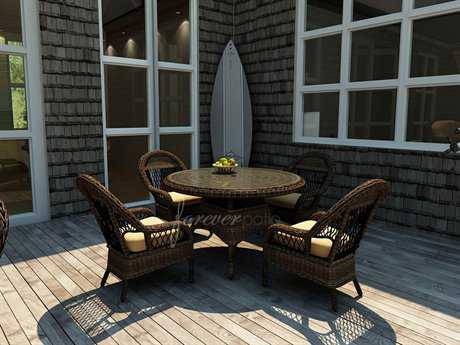 Forever Patio Leona Wicker 4 Person Cushion Casual Patio Dining Set