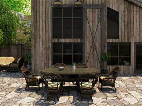 Forever Patio Leona Wicker 6 Person Cushion Casual Patio Dining Set