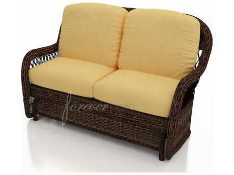 Forever Patio Leona Wicker Cushion Arm Glider Loveseat