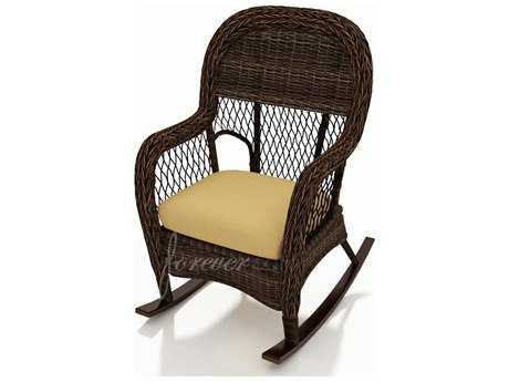 Forever Patio Leona Wicker Cushion Arm Rocker Lounge Chair