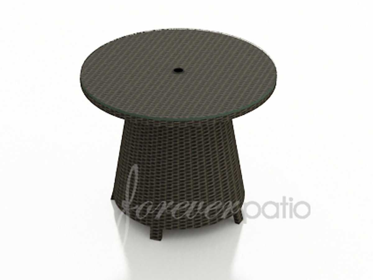 forever patio hampton wicker round 32 coffee table with umbrella hole