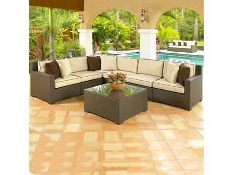 Forever Patio Hampton Wicker 6 Person Cushion Sectional Patio Lounge Set