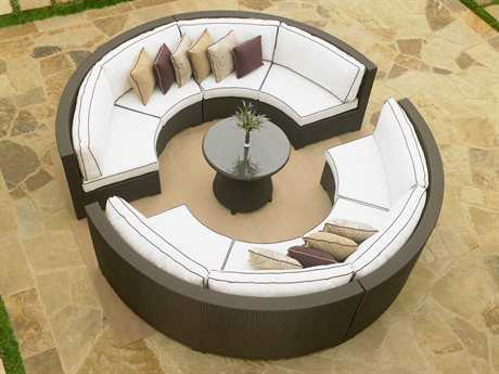 Forever Patio Wicker 6 Person Cushion Sectional Patio Lounge Set
