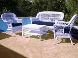 NorthCape Manchester Wicker Cushion Loveseat and Lounge Chair Set