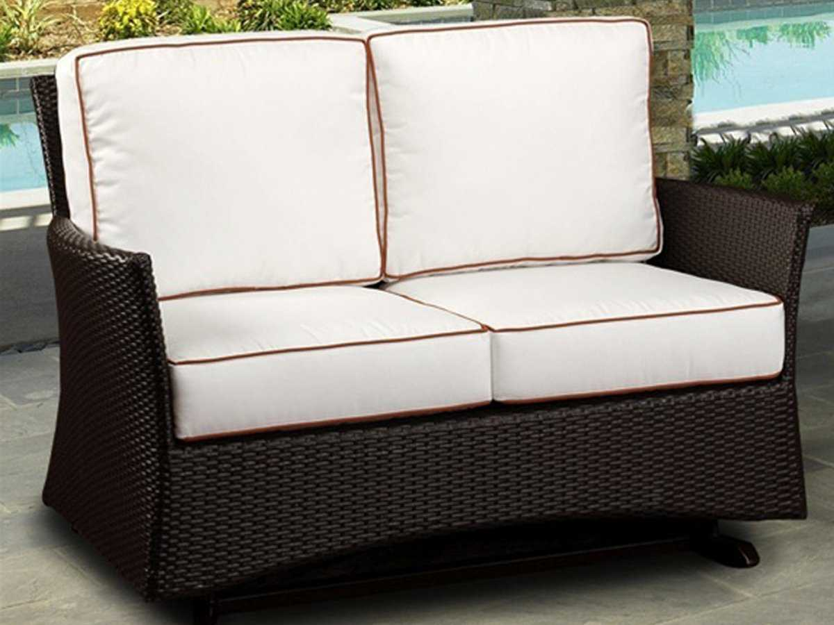 Northcape venice wicker cushion arm glider patio loveseat nc4062g2 Loveseat cushions outdoor