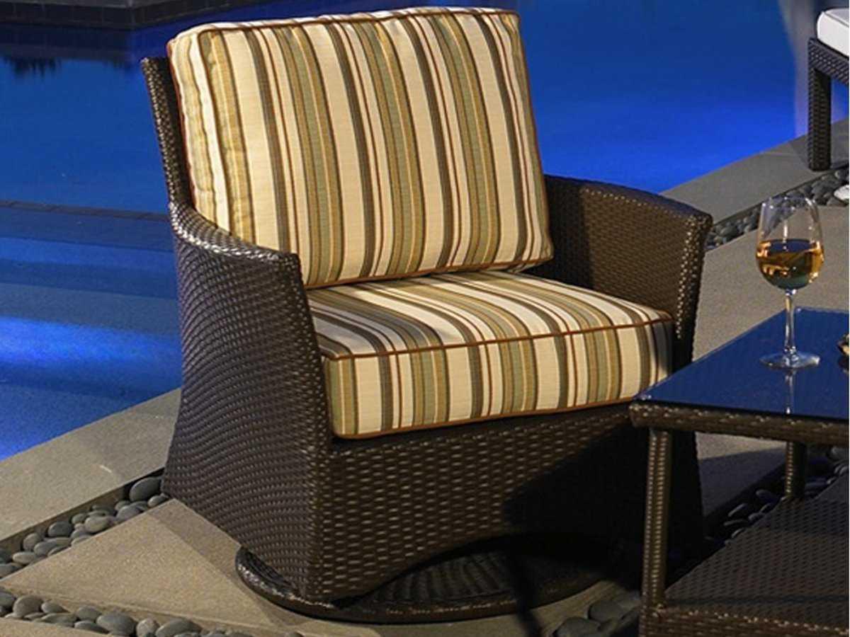 NorthCape Venice Wicker Cushion Arm Swivel Glider Patio Lounge Chair