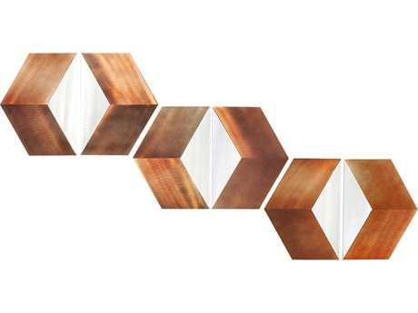 Nova Diamond Eye Brushed Aluminum & Rust Six Pieces Graphic Wall Art