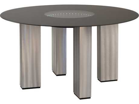 stealth 54 39 39 round brushed aluminum black dining table 53